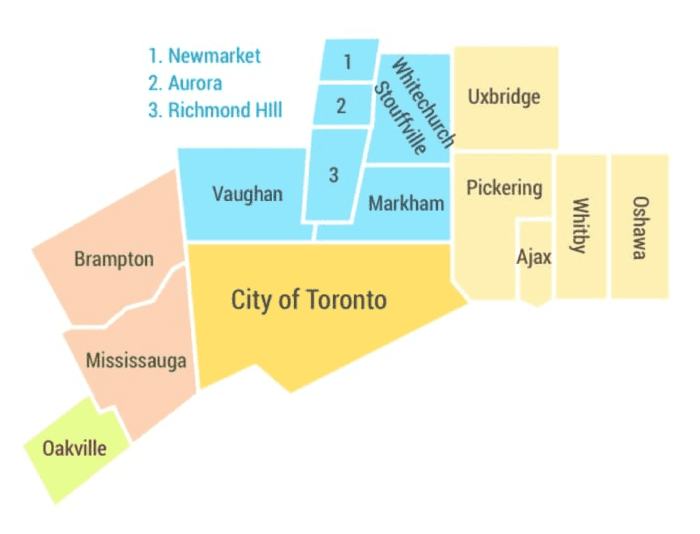 service location map toronto light